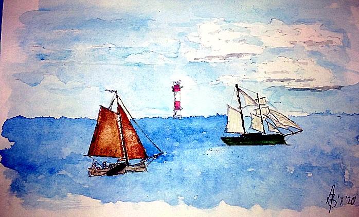 Skizze von zwei Segelschiffen vor dem Leuchtturm Kalkgrund am Eingang der Flensburger Förde